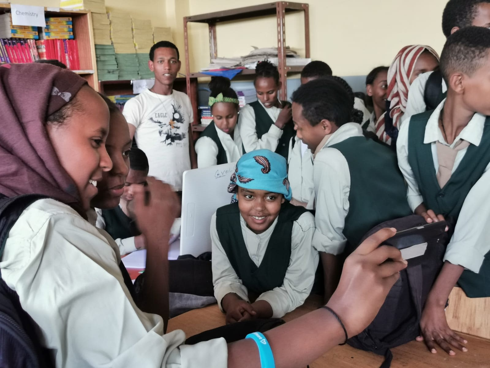 School children watching the health video
